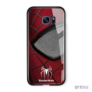 The KedStore S8 Plus / Spider Man Tempered Glass Phone Case / Black Panther, Iron Man, Spiderman, Captain America Phone Case For Samsung Galaxy S7 Edge S8 S8 Plus