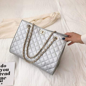 The KedStore Silver / 32cm 15cm 24cm Luxury Handbags Designer Leather Chain Large Shoulder Bag Tote