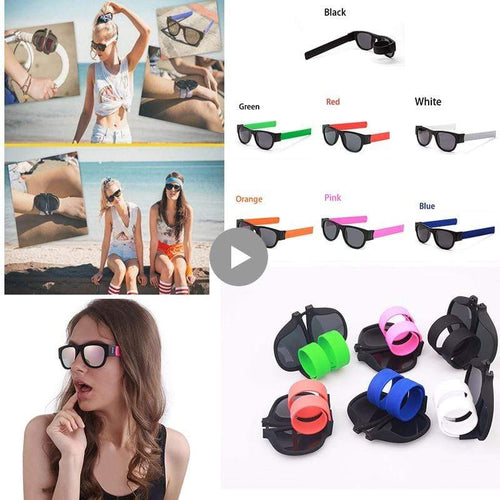 The KedStore Slap Foldable Sunglasses Polarized for Men/Women Slappable Bracelet Wristband Fold Beach Sunglasses
