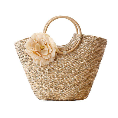 The KedStore Straw bag beach messenger tote basket shopper bag - fabric flower