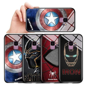 The KedStore Tempered Glass Phone Case / Black Panther, Iron Man, Spiderman, Captain America Phone Case For Samsung Galaxy S7 Edge S8 S8 Plus