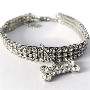 The KedStore White / 20cm Exquisite Bling Crystal Dog Collar