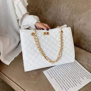 The KedStore White / 32cm 15cm 24cm Luxury Handbags Designer Leather Chain Large Shoulder Bag Tote