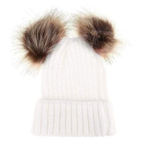 The KedStore White Double Ball / Mom Size Fashion Parent-child Caps Winter Hat Double Fur Ball Hat Mother Kid Warm Knitted beanie s