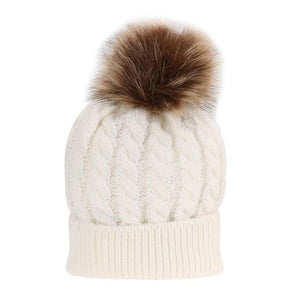 The KedStore White Single Ball / Baby Size Fashion Parent-child Caps Winter Hat Double Fur Ball Hat Mother Kid Warm Knitted beanie s