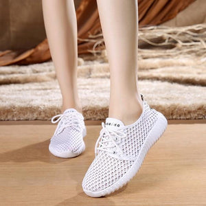 The KedStore Women Casual Shoes Mesh Breathable Antiskid Solid Color Outdoor Lace-Up Sneakers
