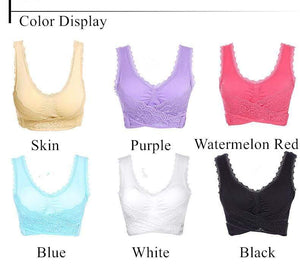 The KedStore Women Fitness Yoga Sports Bra Padded Push Up Bra Female Lace Crop Top Yoga Gym Shirts Sport Brassiere Tops Vest Seamless Bra