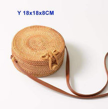 Load image into Gallery viewer, The KedStore Y 18X8 xiao hu die Round Handmade Woven Rattan Beach Cross Body Circle Bohemia Straw Handbag