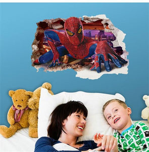 yiwu yifeibi factory customize Store (AliExpress) 9269 3D cartoon Spiderman Wall Decals Removable PVC Wall stickers
