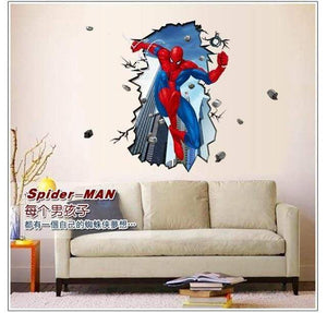 yiwu yifeibi factory customize Store (AliExpress) Y003 50x70cm 3D cartoon Spiderman Wall Decals Removable PVC Wall stickers