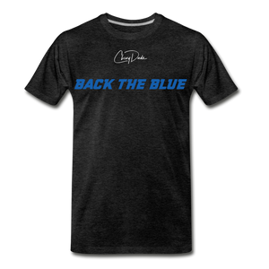 MEN'S T-SHIRT - BACK THE BLUE - charcoal gray
