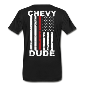MEN'S T-SHIRT - THIN RED LINE FLAG - black