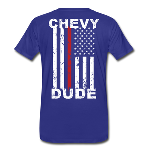 MEN'S T-SHIRT - THIN RED LINE FLAG - royal blue