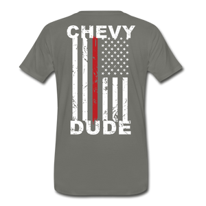 MEN'S T-SHIRT - THIN RED LINE FLAG - asphalt gray