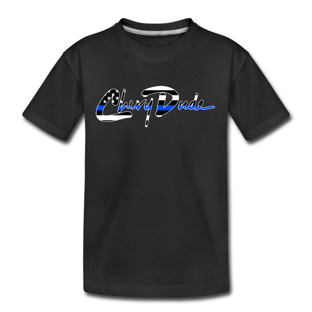 Chevy Dude thin Blue Line Autograph Kid's T-Shirt - black