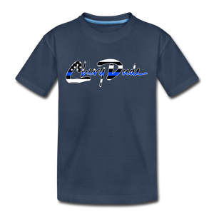 Chevy Dude thin Blue Line Autograph Kid's T-Shirt - navy