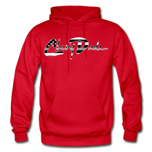 Load image into Gallery viewer, Chevy Dude thin Gray Line Autograph Adult Hoodie - red