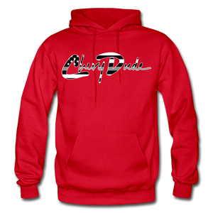 Chevy Dude thin Gray Line Autograph Adult Hoodie - red