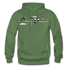 Load image into Gallery viewer, Chevy Dude thin Gray Line Autograph Adult Hoodie - military green
