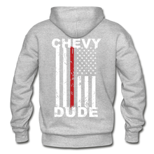 Load image into Gallery viewer, THIN RED LINE FLAG - Men's Hoodie - heather gray