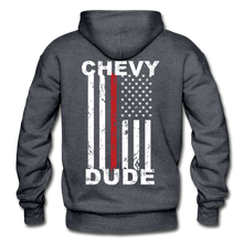 Load image into Gallery viewer, THIN RED LINE FLAG - Men's Hoodie - charcoal gray