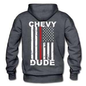 THIN RED LINE FLAG - Men's Hoodie - charcoal gray