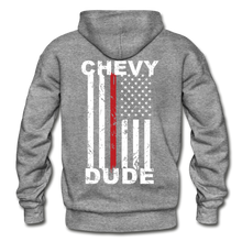 Load image into Gallery viewer, THIN RED LINE FLAG - Men's Hoodie - graphite heather