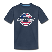 Load image into Gallery viewer, Chevy Dude Bow Tie Kid's Premium Organic T-Shirt - navy