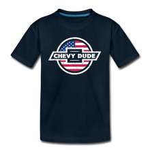Load image into Gallery viewer, Chevy Dude Bow Tie Kid's Premium Organic T-Shirt - deep navy