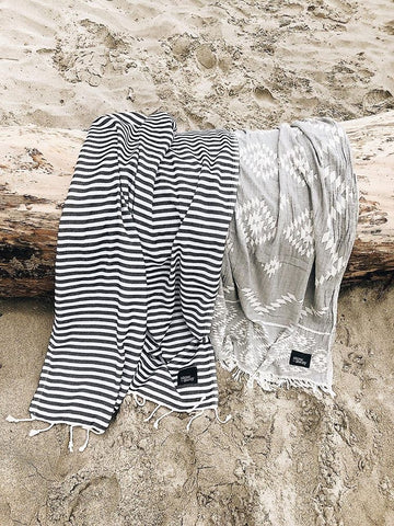 Stowaway Ahoy Black Turkish towel and Tulum Aztec Towel Charcoal