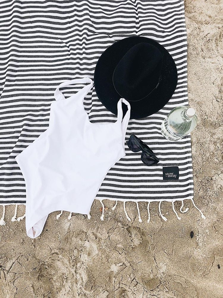 Stowaway Ahoy Black Turkish towel