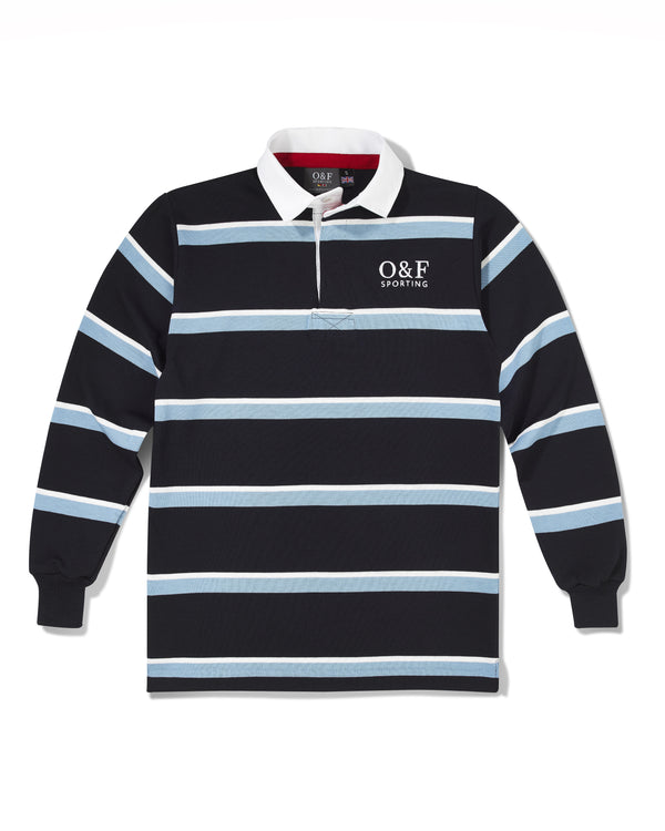 Navy, Sky Blue & White Hooped Rugby Shirt