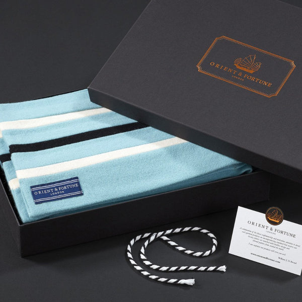 Orient & Fortune - Arctic - English Woollen College Scarf made in England in blue, white and black with gift box
