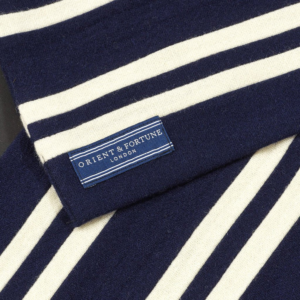 Orient & Fortune - Atlantic - English Woollen College Scarf made in England in navy blue and white with gift box