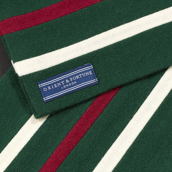 Orient & Fortune - Indian - English Woollen College Scarf made in England in green, red and white with gift box