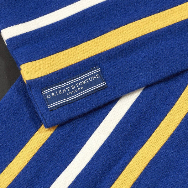 Orient & Fortune - Pacific - English Woollen College Scarf made in England in blue, yellow and black with gift box
