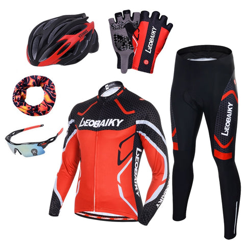 Pro Team Cycling Clothing Men's Long Sleeve Bicycle Jersey Set