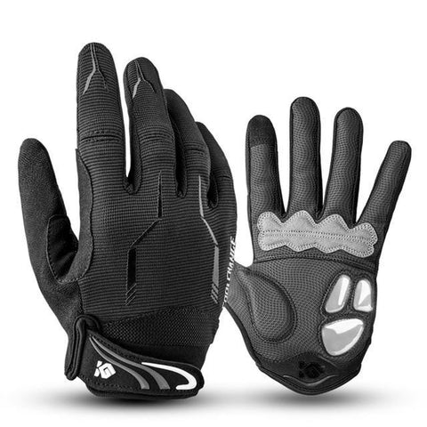 Gel Shockproof Full Finger Cycling Gloves (Black)