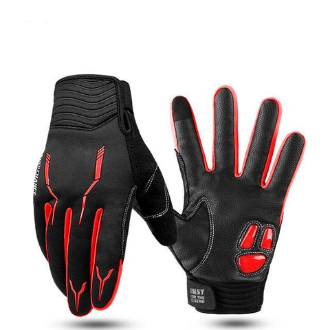 Insulated Full Finger Winter Cycling Gloves (Red)