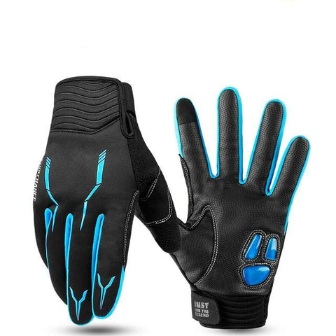 Insulated Full Finger Winter Cycling Gloves (Blue)