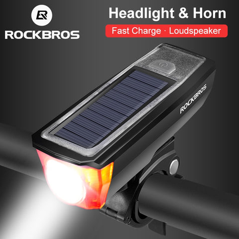 ROCKBROS Waterproof Bicycle Headlight & Bell Solar/USB Charging