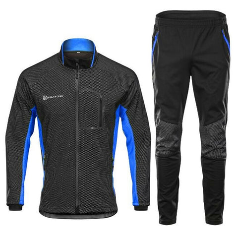 Winter Cycling Clothing Windproof Thermal Bicycle Set F