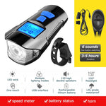 Waterproof Bicycle Light USB Charging w/ Horn Speed LCD Screen