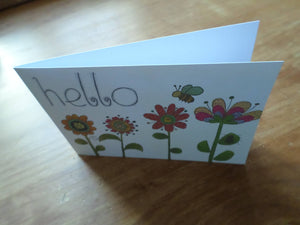 Set of 4 greeting cards handmade Hello flowers - any occasion 15cm x 10.5 cm