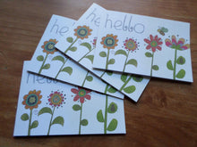 Load image into Gallery viewer, Set of 4 greeting cards handmade Hello flowers - any occasion 15cm x 10.5 cm