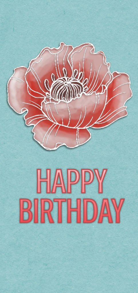 Hand made Card Bubble flower Happy Birthday greeting card