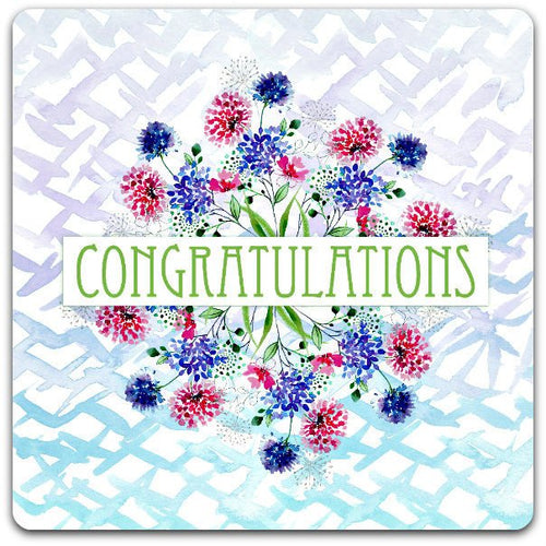 15cm x 15cm hand made Congratulations greeting card