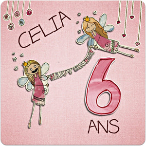 Greeting card fairies birthday girl to customize 15cm x 15cm