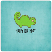 Load image into Gallery viewer, Happy Birthday little lizard original greeting card - handmade 15cm x 15cm