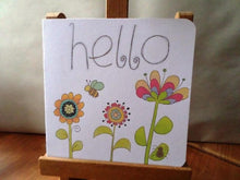 Load image into Gallery viewer, Hello - handmade - 15cm x 15cm card